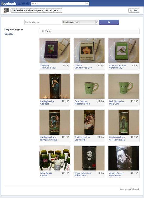 Chickadee Candle Company Facebook Storefront