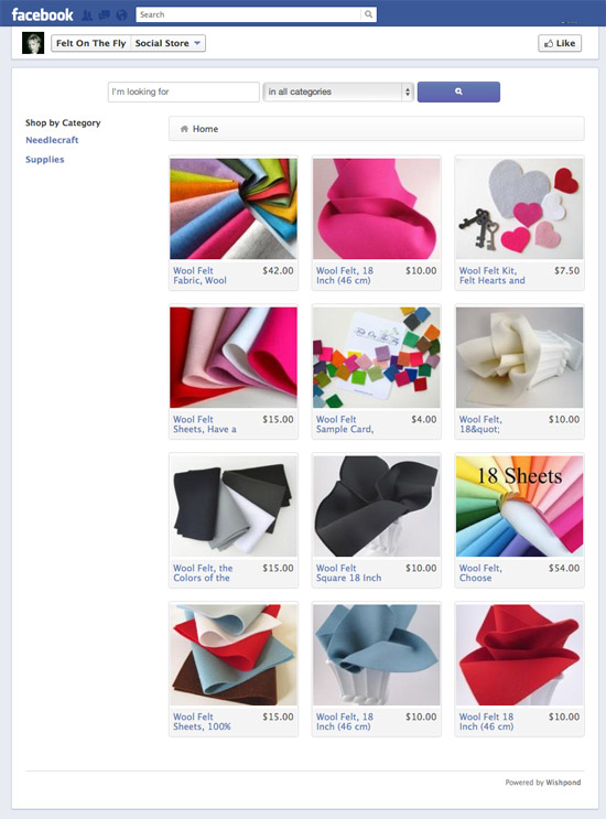 Felt on the Fly Facebook Storefront