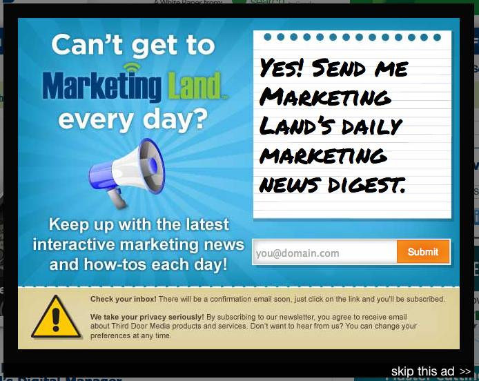 Marketing Land entry website popup
