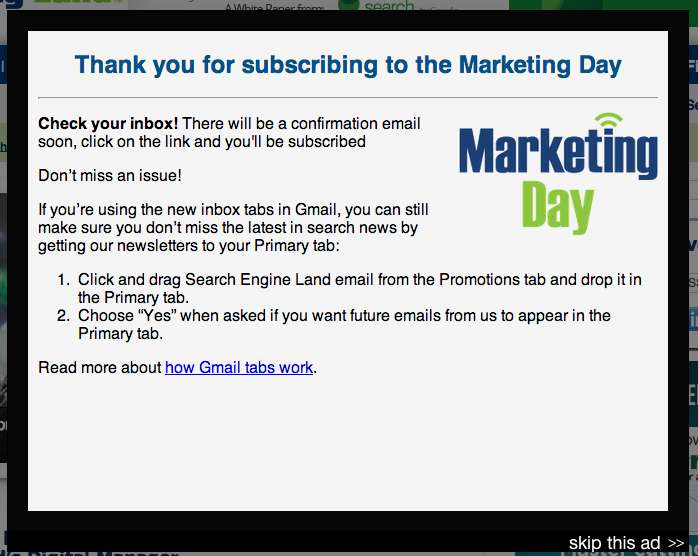 Marketing Land thank-you website popup