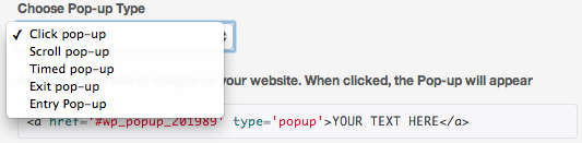 Types of website popups