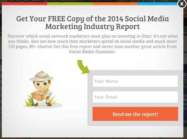 Social Media Examiner website popup