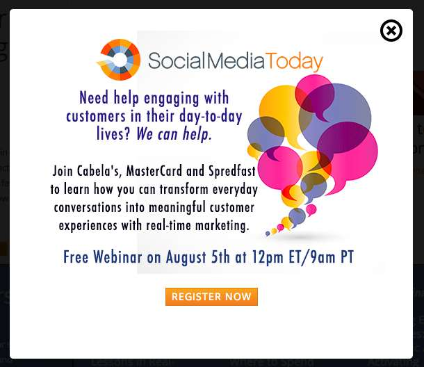 Social Media Today timed website popup