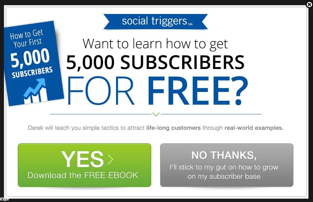 Social Triggers exit popup
