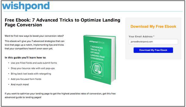 Landing page website popup