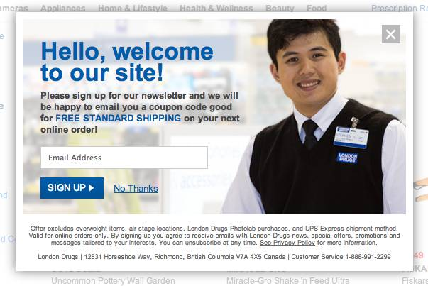 London Drugs timed website popup