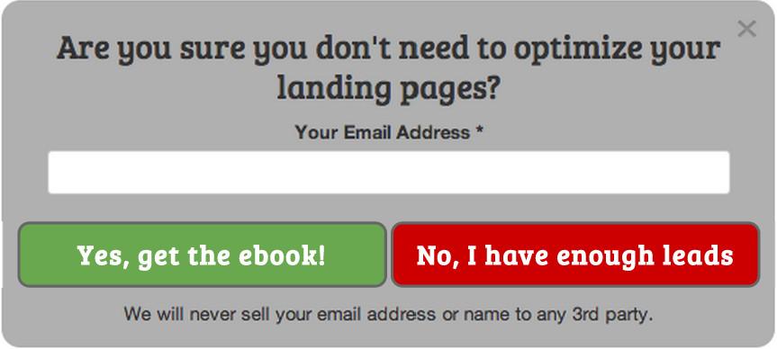 Exit website popup