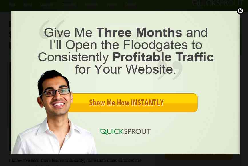QuickSprout website popup