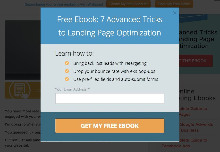 How to Promote Your Ebook: Popup example
