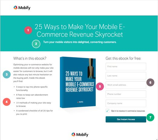 Ebook Landing Page Example: Mobify